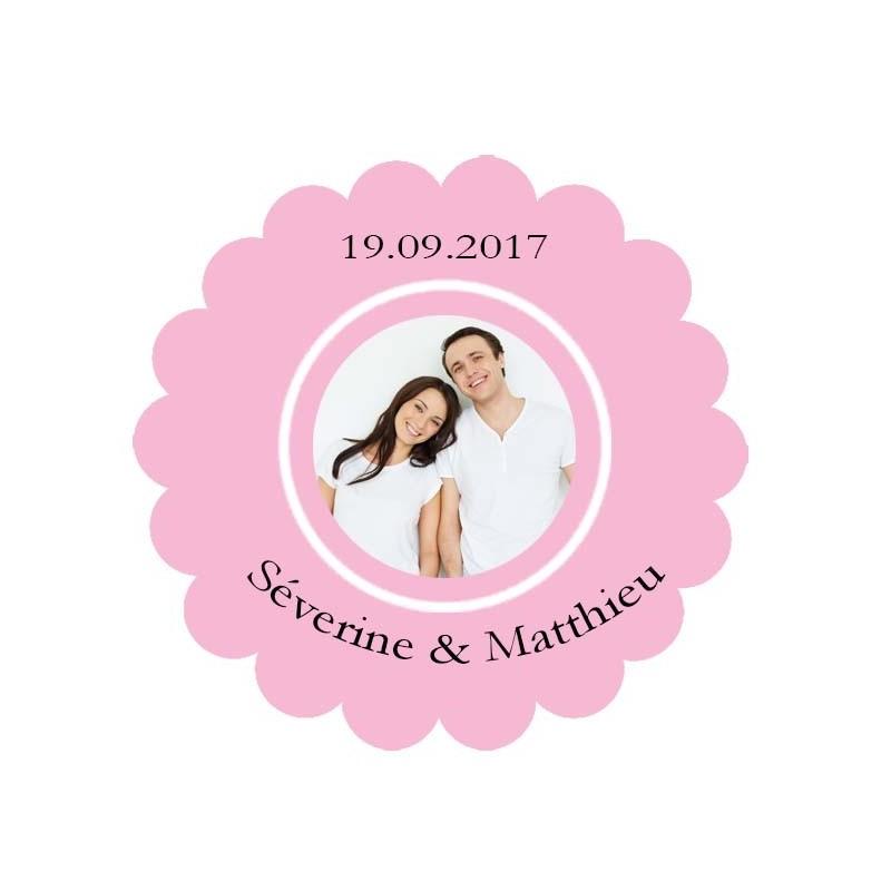 étiquette dragées photo festonnée rose