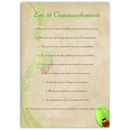 Les 10 commandements de la marraine et du parrain