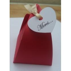 boite dragées rouge personnalisée