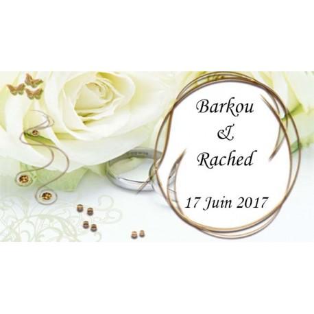 étiquette dragées mariage rose blanche