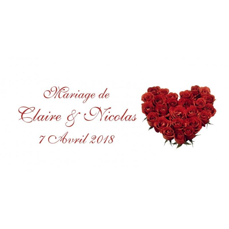 étiquette dragées mariage rose rouge
