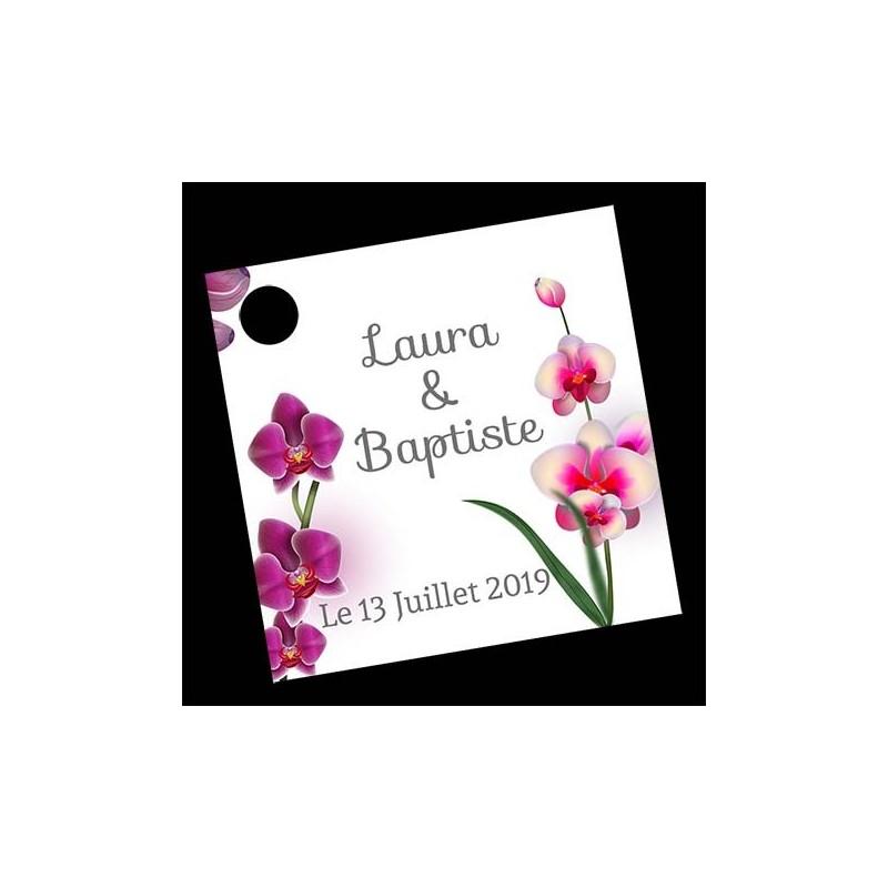 étiquette dragées orchidées modèle 2