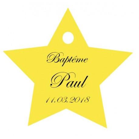étiquettes dragées étoile jaune