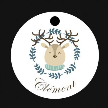 Etiquette Noël ourson