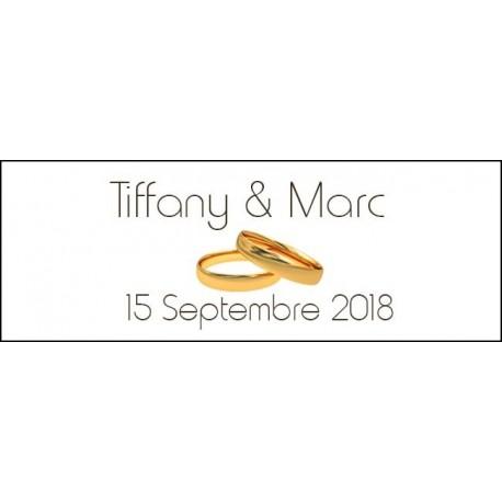 étiquettes dragées mariage motif alliances