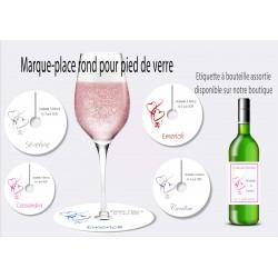 Marque-place rond pied de verre