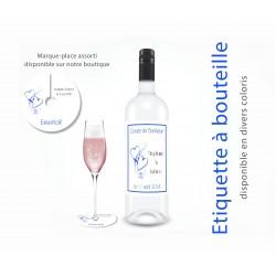 étiquette pour bouteille coeurs entrelacés