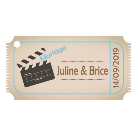 étiquette dragées ticket cinéma