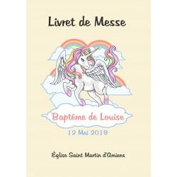 Livret de messe Baptême Licorne
