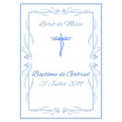 Livret de messe Baptême Croix bleu
