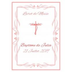 Livret de messe Baptême Croix rose