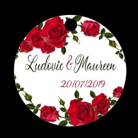 étiquette à dragées mariage roses rouges