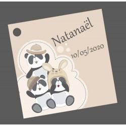 étiquettes dragées trois panda