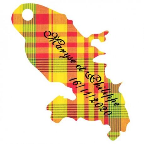 étiquette dragées carte Martinique madras