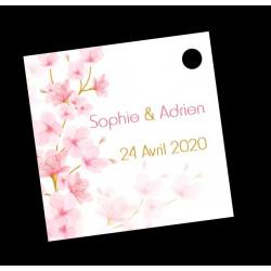 étiquette à dragées mariage fleurs de cerisier