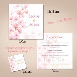Faire part personnalisé fleurs de cerisier