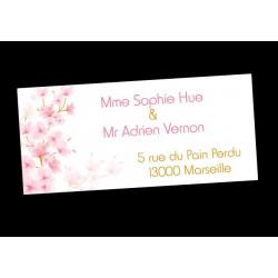 Etiquette d'adresse autocollante fleurs de cerisier