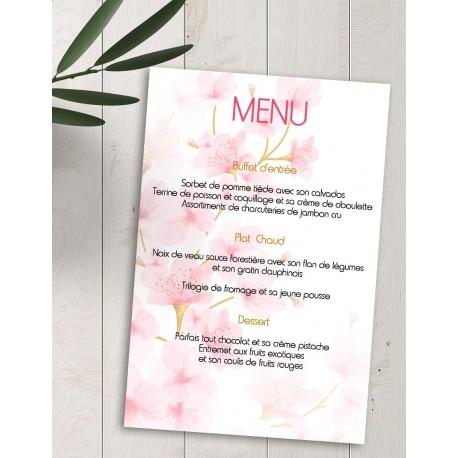 Menu personnalisé fleurs de cerisier