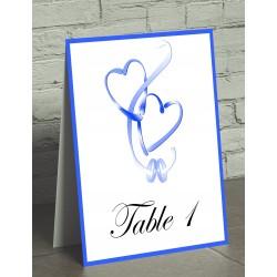 Nom de table chevalet coeurs entrelacés bleu