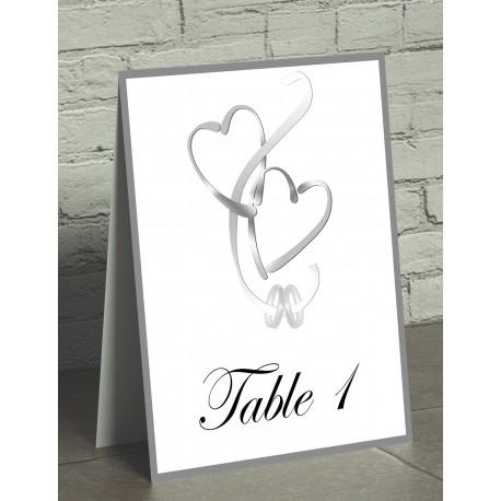 Nom de table chevalet coeurs entrelacés gris