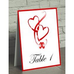 Nom de table chevalet coeurs entrelacés rouge