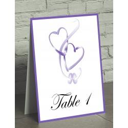 Nom de table chevalet coeurs entrelacés violet