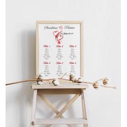 Plan de table mariage coeurs entrelacés portrait rouge