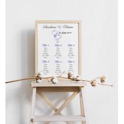 Plan de table mariage coeurs entrelacés portrait violet