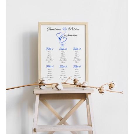 Plan de table mariage coeurs entrelacés portrait bleu