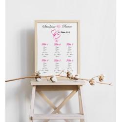 Plan de table mariage coeurs entrelacés portrait fushia