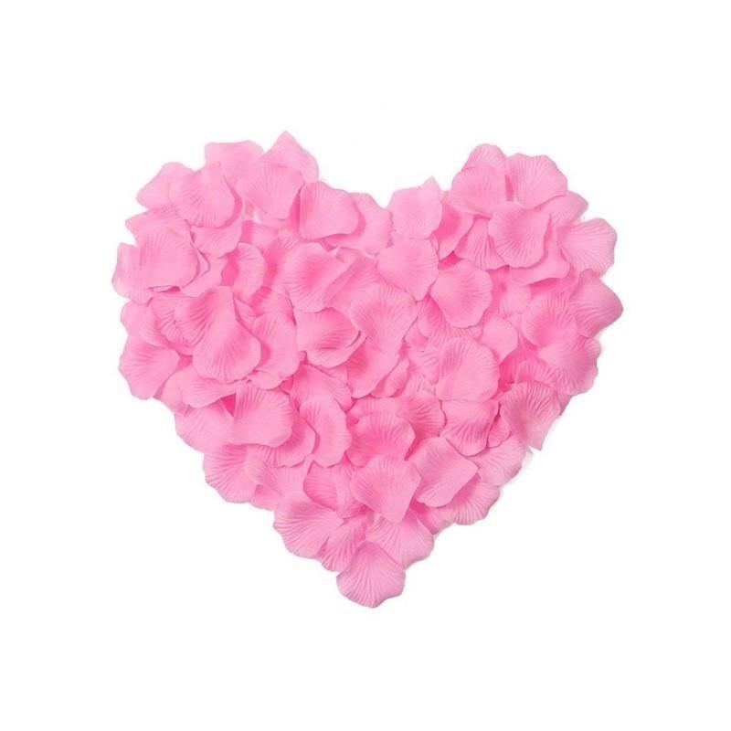 Pétales de roses en soie rose clair lot de 200