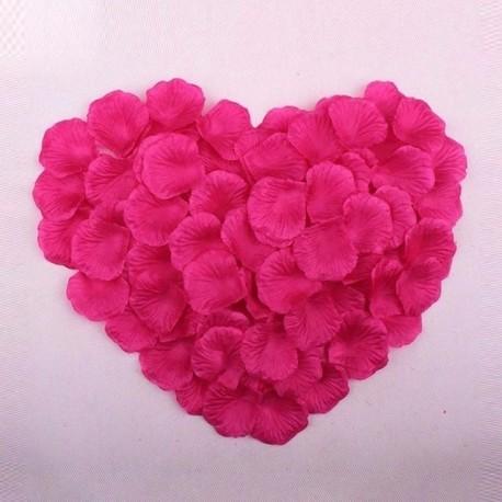 Pétales de roses en soie rose foncé lot de 200