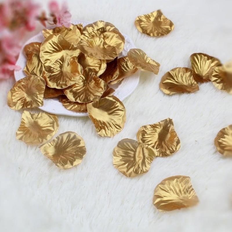 Pétales de roses en soie doré Or lot de 200