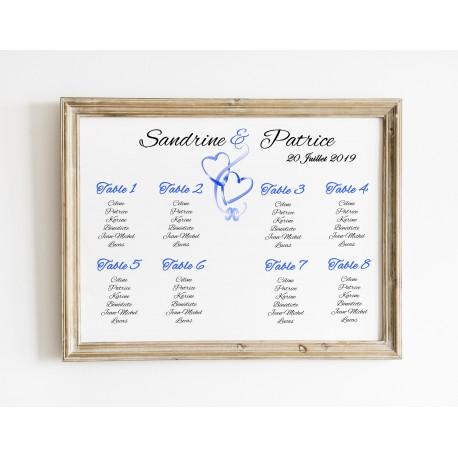 Plan de table mariage coeurs entrelacés paysage bleu