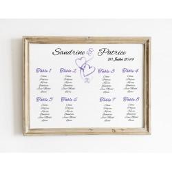 Plan de table mariage coeurs entrelacés paysage violet