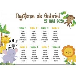 Plan de table baptême thème Jungle