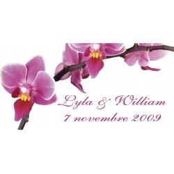 étiquette dragées orchidées