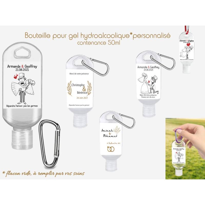 bouteille personnalisée mariage pour gel hydroalcoolique