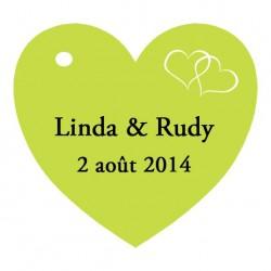 étiquettes à dragées coeur vert anis