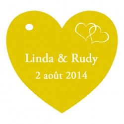 étiquettes à dragées coeur jaune
