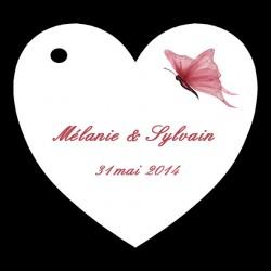 étiquettes à dragées coeur motif papillon
