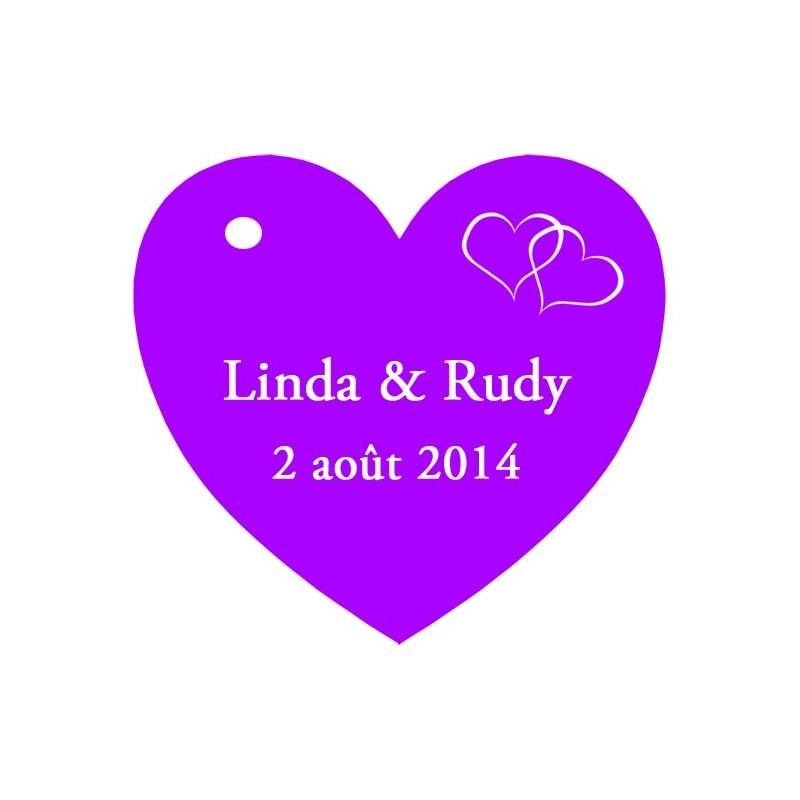 étiquettes à dragées coeur violet