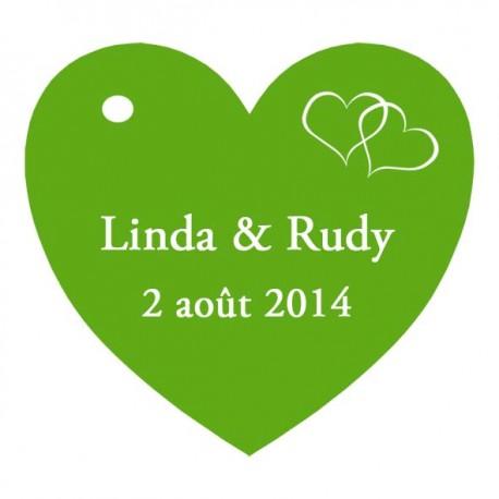 étiquettes à dragées coeur vert