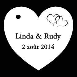 étiquettes à dragées coeur noir et blanc motif coeurs entrelacés