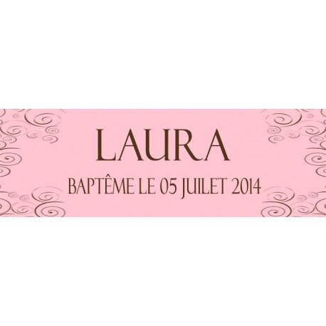 étiquette dragées baptême rose