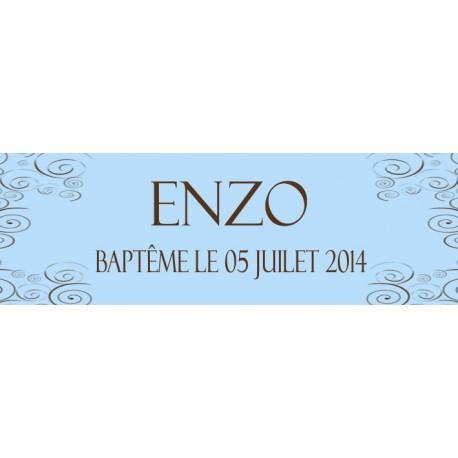 étiquette dragées baptême bleu
