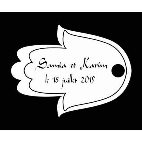 étiquettes à dragées oriental main de Fatma noir et blanc