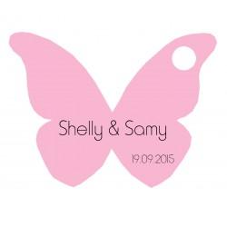 étiquette dragées papillon rose