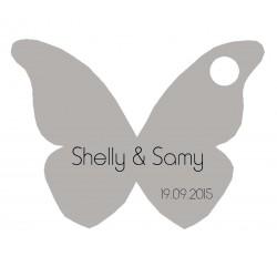 étiquette dragées papillon gris