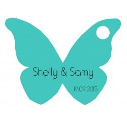 étiquette dragées papillon turquoise